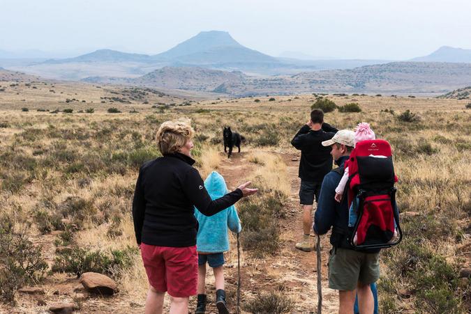 Walkers in the Karoo in South Africa