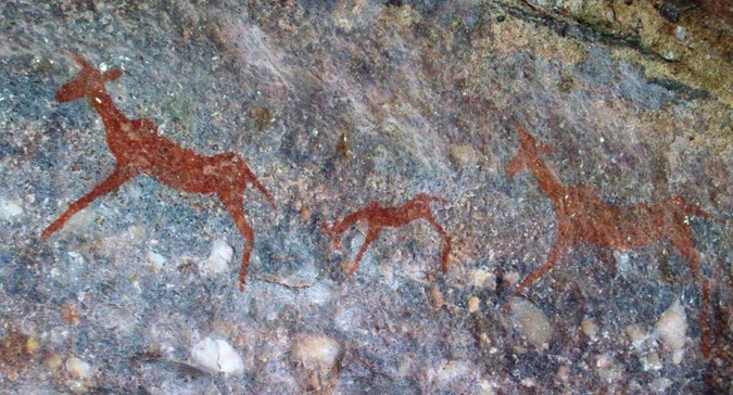Rock paintings in the Waterberg in South Africa