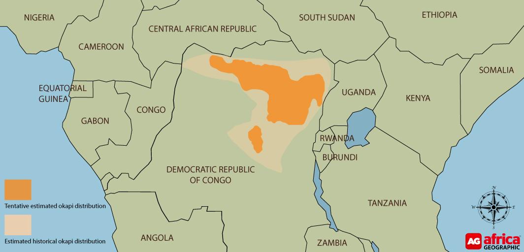 Okapi distribution map