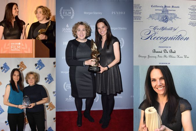 Collection of photos showing STROOP film producers receiving awards