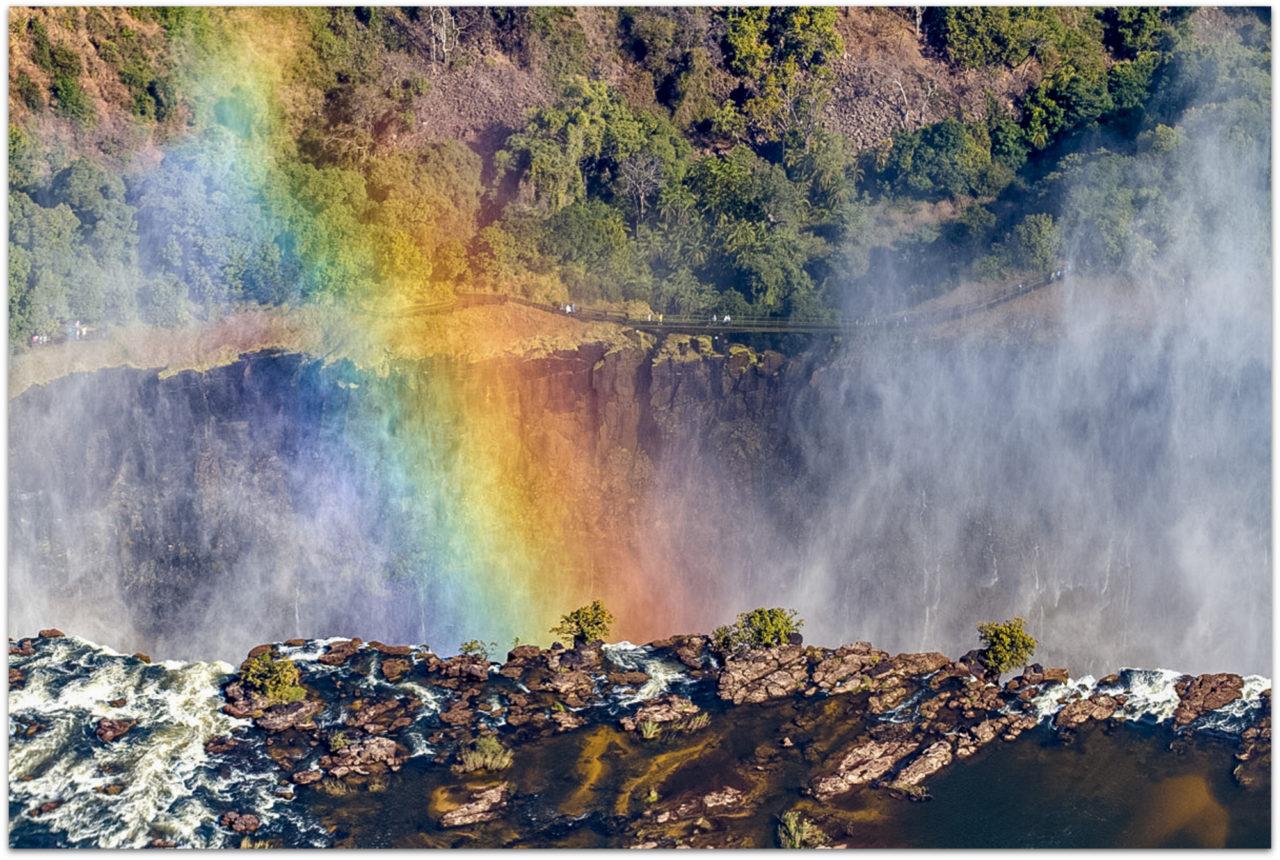 Rainbow at Victoria Falls on the Zimbabwe side