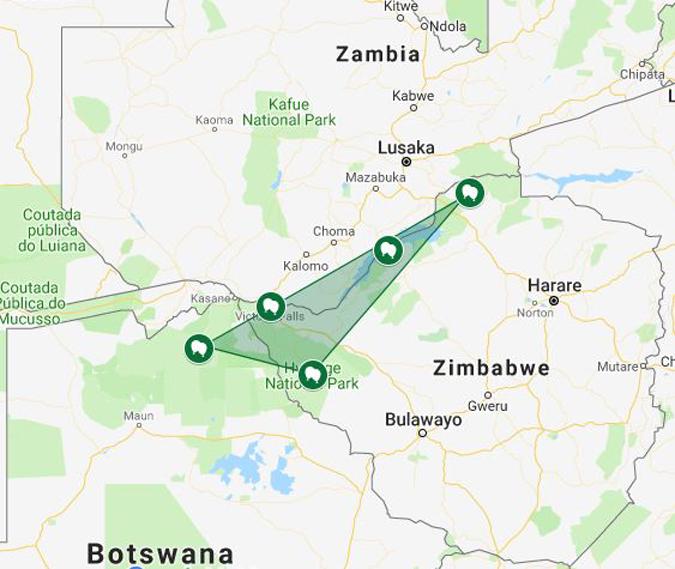 Map showing Botswana, Zimbabwe and Zambia