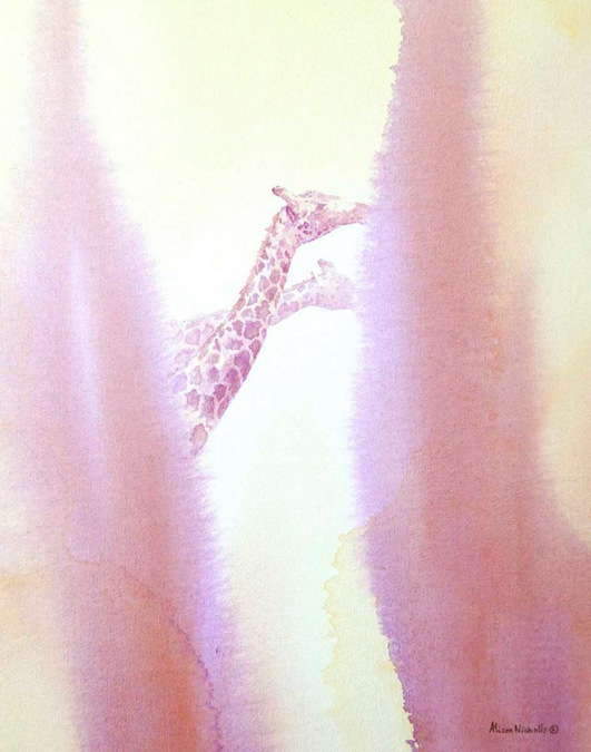 Acrylic painting of giraffes by Alison Nicholls