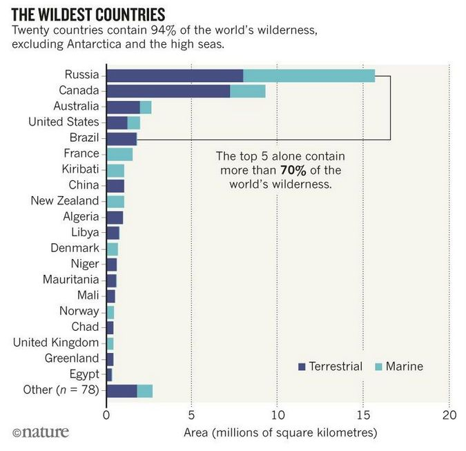 A graph showing the top 20 countries that contain 94% of the world's wilderness