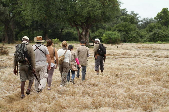 Guests going on a walking safari in Mana Pools