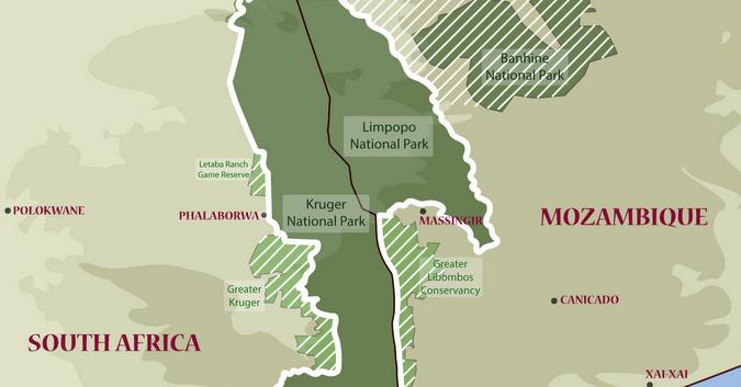 Great Limpopo Transfrontier Park, map