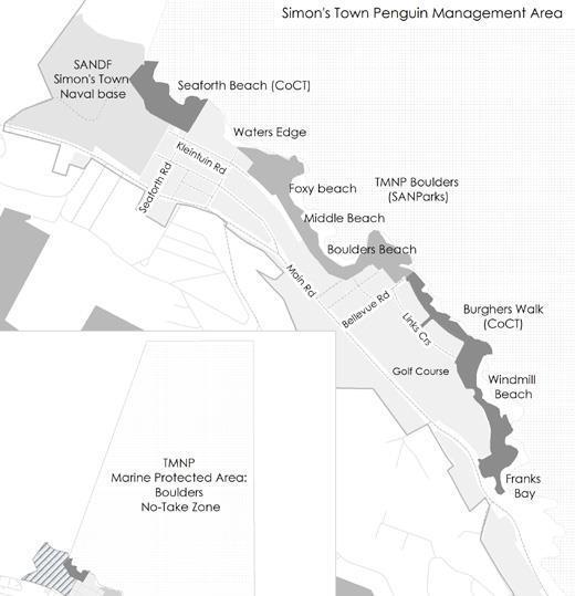 Map showing the Simon's Town penguin management area
