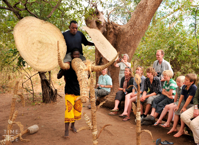 Cultural display in Zambia with guests