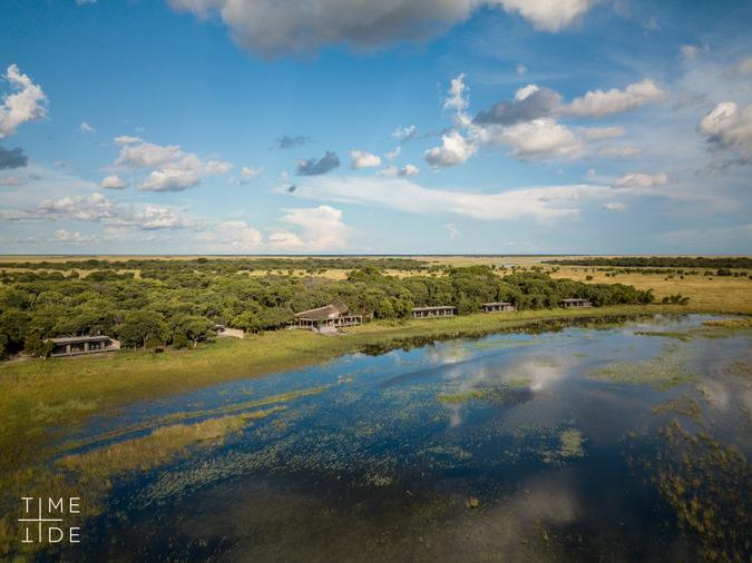 Aerial view of King Lewanika Camp