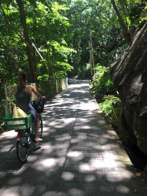Bicycling through La Digue