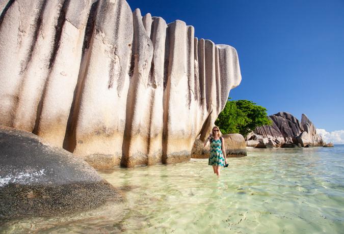 Beach and rocks at La Digue, Seychelles