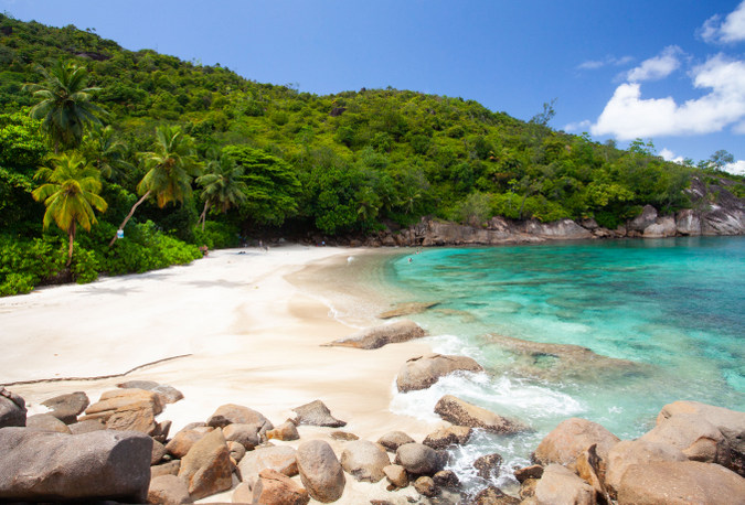 Blue beach on Mahé in the Seychelles