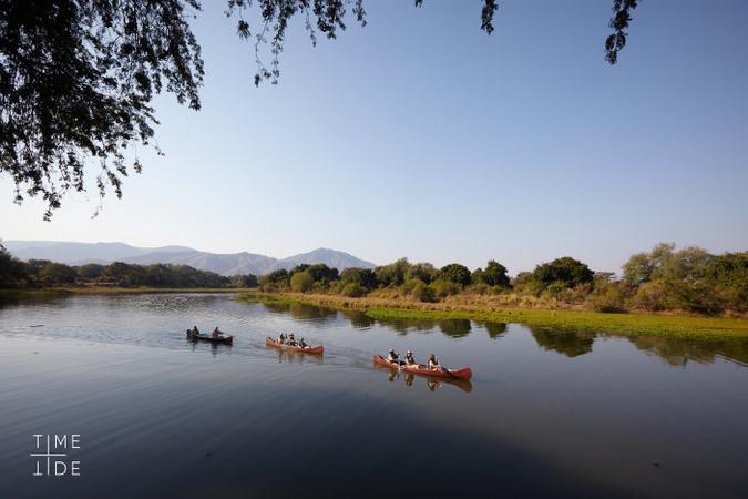 Canoeing on Zambezi River, Zambia