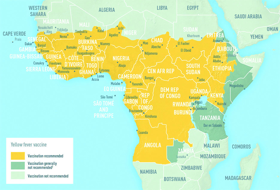 Map showing yellow fever high-risk areas in Africa