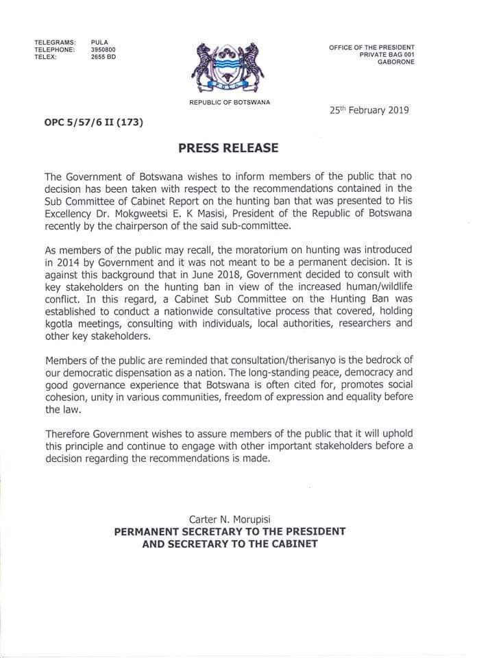Press release from Botswana Government