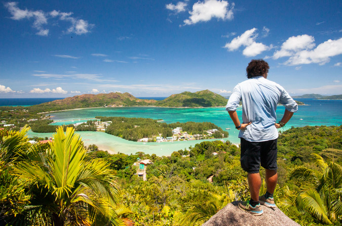 The view of Praslin, the second largest island in the Seychelles