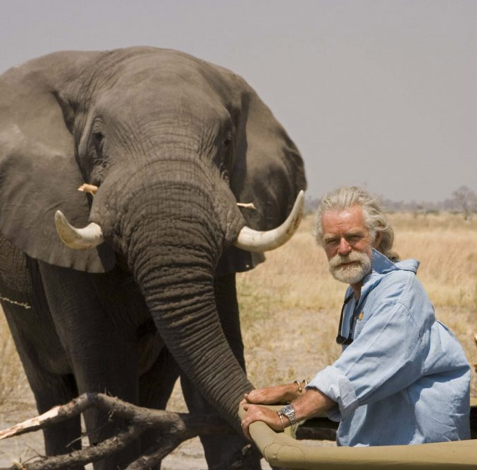 Dereck Joubert and elephant