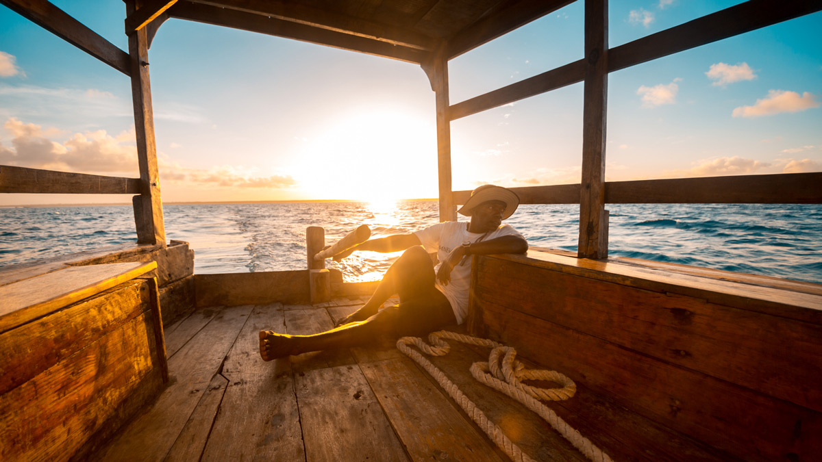"""Leading the way"" – afternoon sailing on a dhow off the coast of Zanzibar © Caleb Shepard"