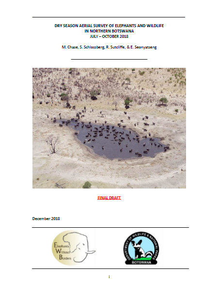 Dry Season Aerial Survey of Elephants and Wildlife in Northern Botswana. July - October 2018