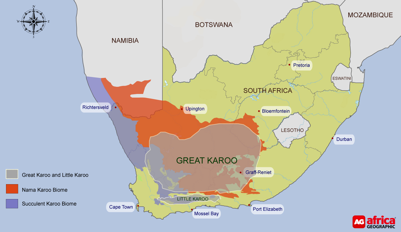 Map of Karoo in South Africa