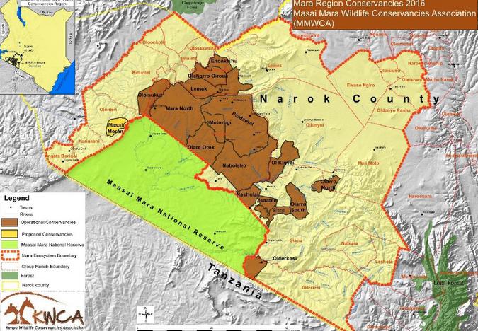 Map of the conservancies and the Maasai Mara National Reserve, Kenya