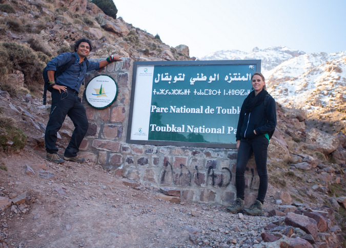 Sign showing start of Mount Toubkal hike, Atlas Mountains, Morocco
