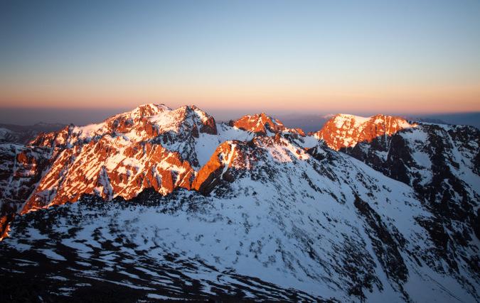 Sun hitting peak on Mount Toubkal, Atlas Mountains, Morocco