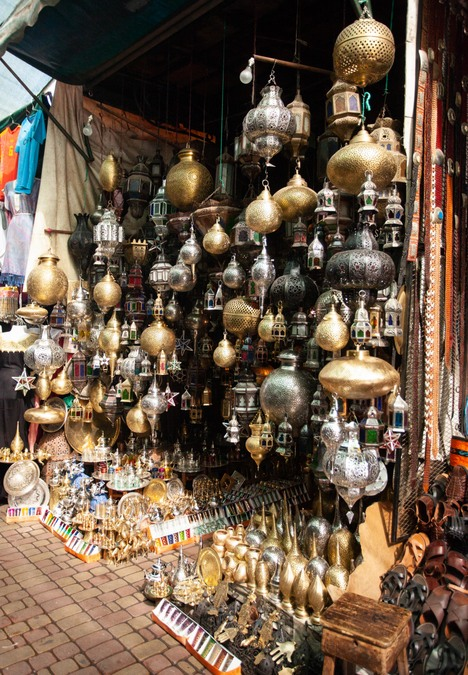 Lamps for sale at market in Marrakech