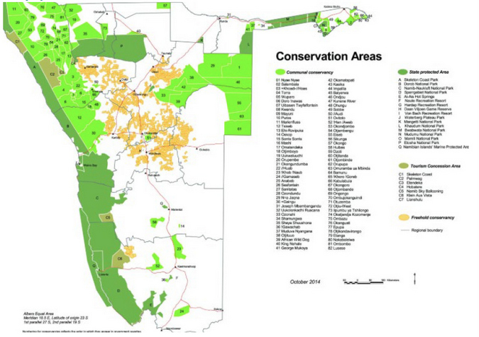 Map of conservation areas in Namibia