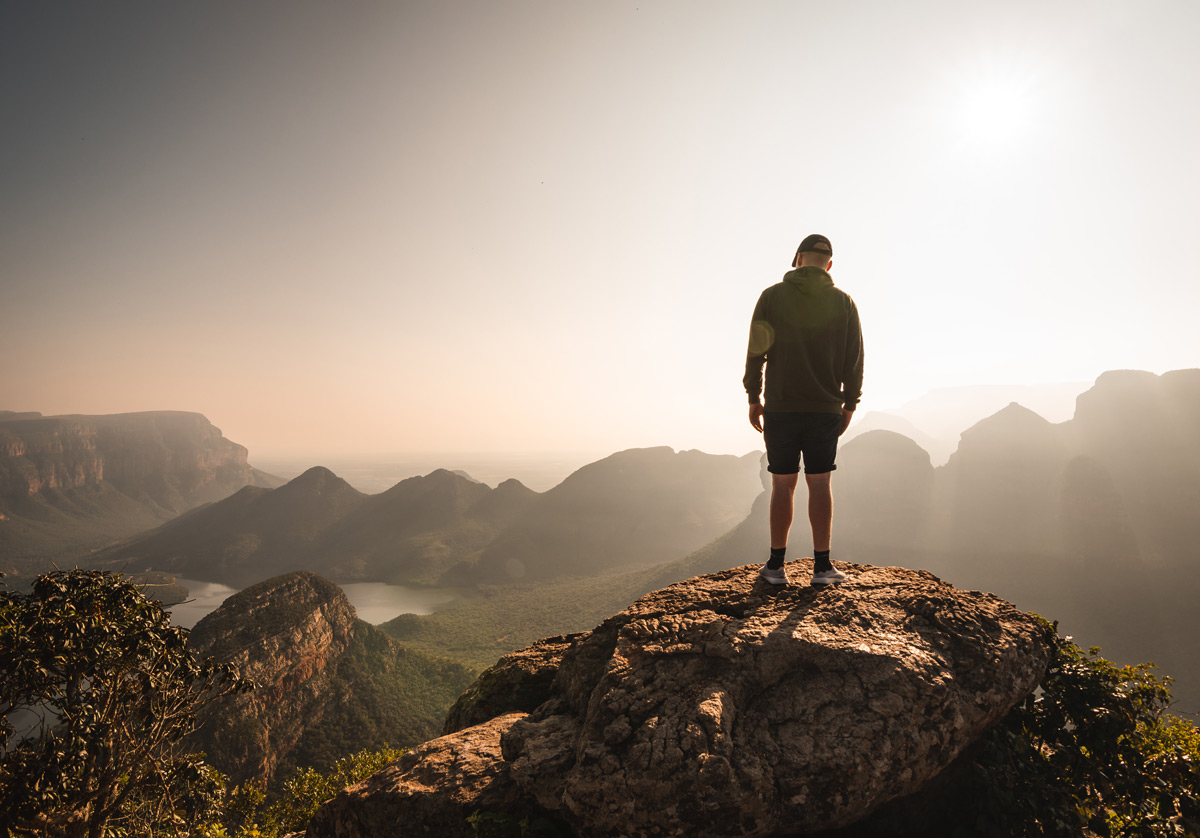 Admiring the view from the Three Rondavels at Blyde River Canyon, South Africa © Felix Schröder