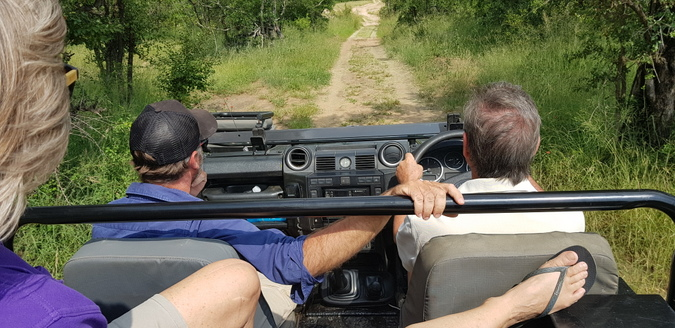 Guests on a game drive in an electric game drive vehicle