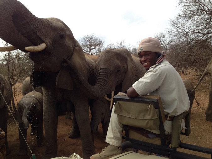 Themba and elephants