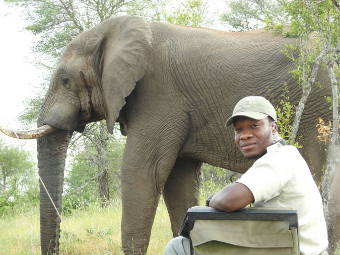 Themba with elephant