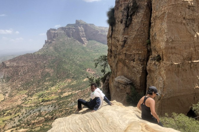 The view at halfway point while climbing up to Abuna Yemata Guh, Tigray region, Ethiopia © Erika Atienza