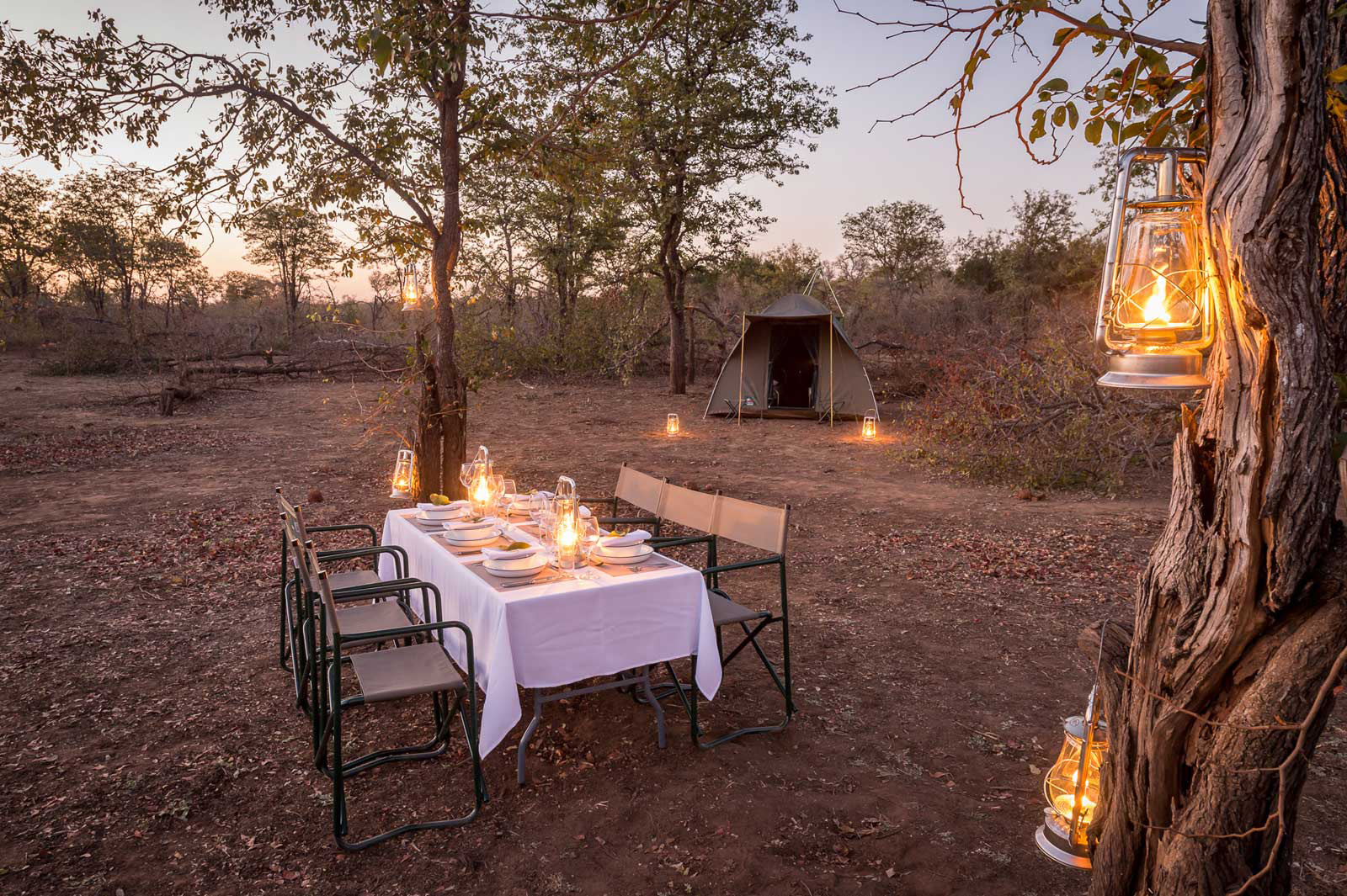 Mobile safari campsite ready for dinner © Africa on Foot