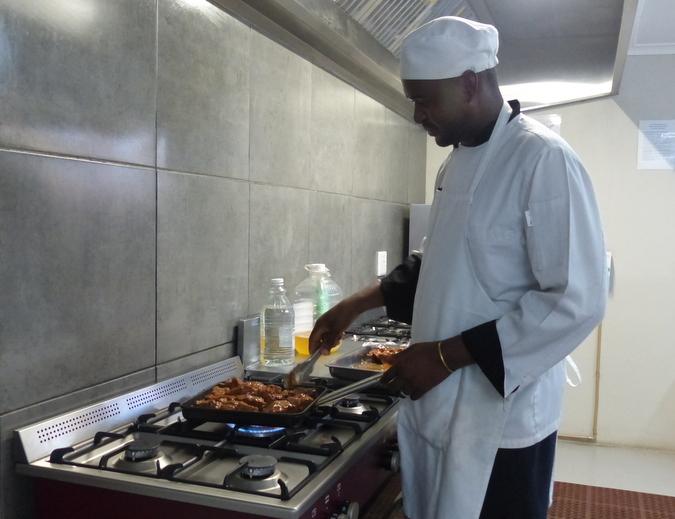 Chef Orlando Mathebula preparing lunch at Sausage Tree Safari Camp