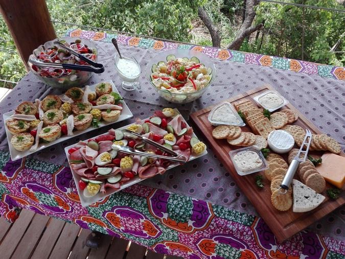 A spread of various food at Sausage Tree Safari Camp