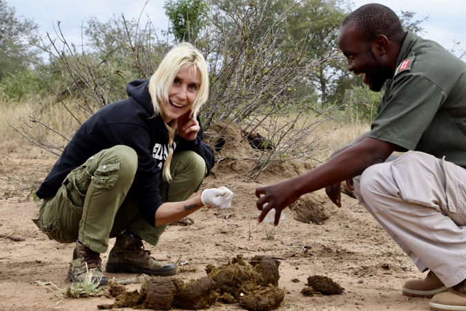 Inspecting rhino dung with a ranger