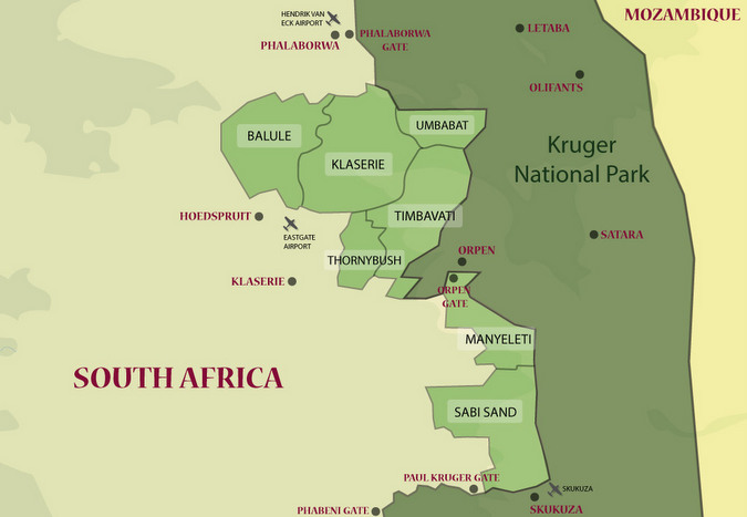 Map showing Greater Kruger and Kruger National Park