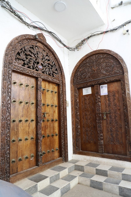 Intricately carved doors in Stone Town, Zanzibar