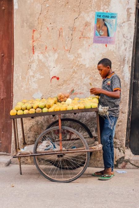 Fruit seller in Stone Town, Zanzibar