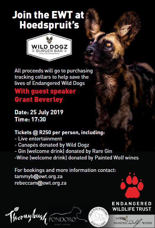 African wild dog, painted wolf fundraising event poster