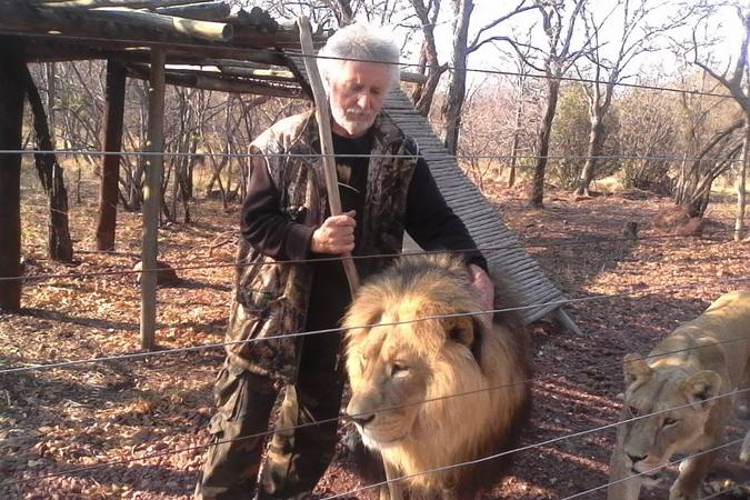 Leon van Biljon with two of the lions inside the lion enclosure, Mahala View Lion Game Lodge