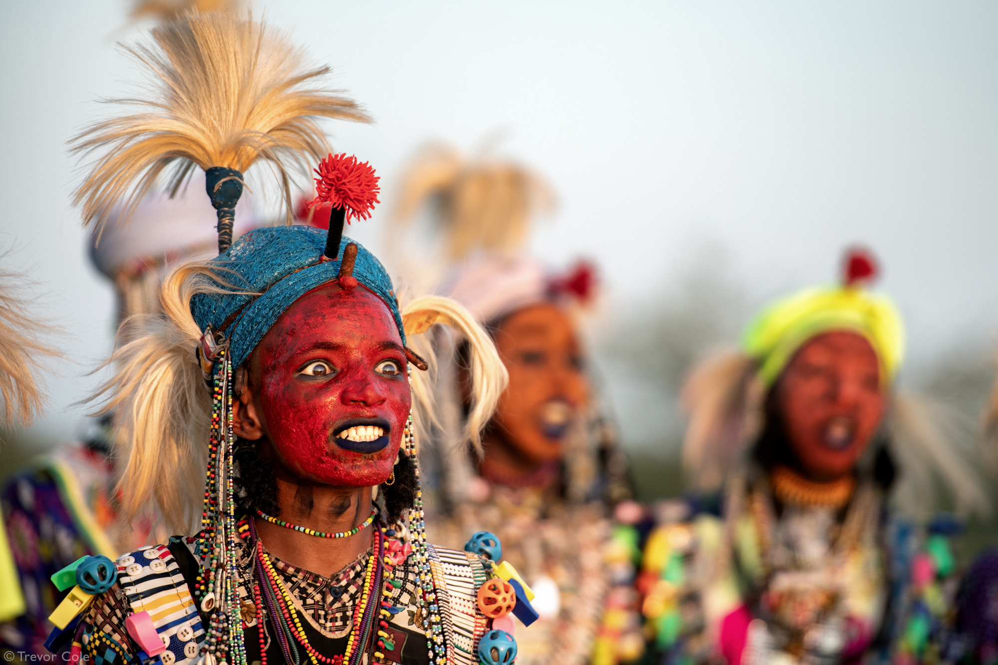 Man with painted face during Gerewol festival in Chad