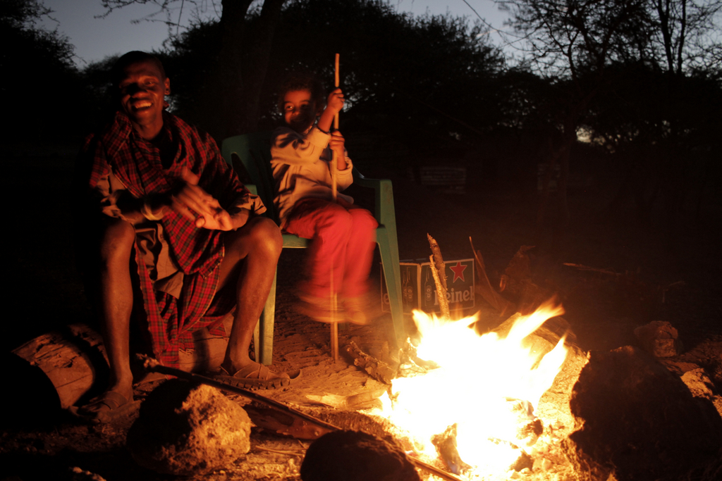 Maasai around a campfire in Tanzania