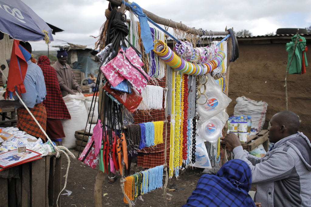 Beaded bangles and necklaces for sale at Monduli Juu market in Tanzania