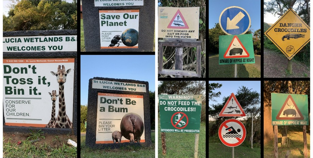 Various signs about the animals at St. Lucia