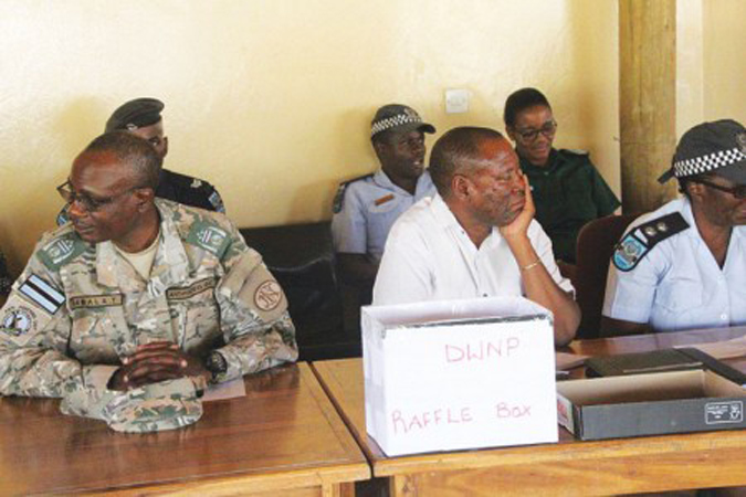 Officials at the hunting raffle in Maun