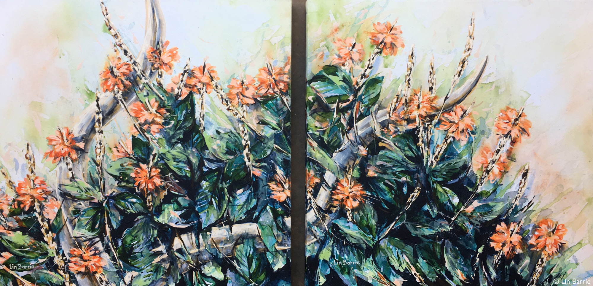 Painting of crossandra flowers and kudu horn