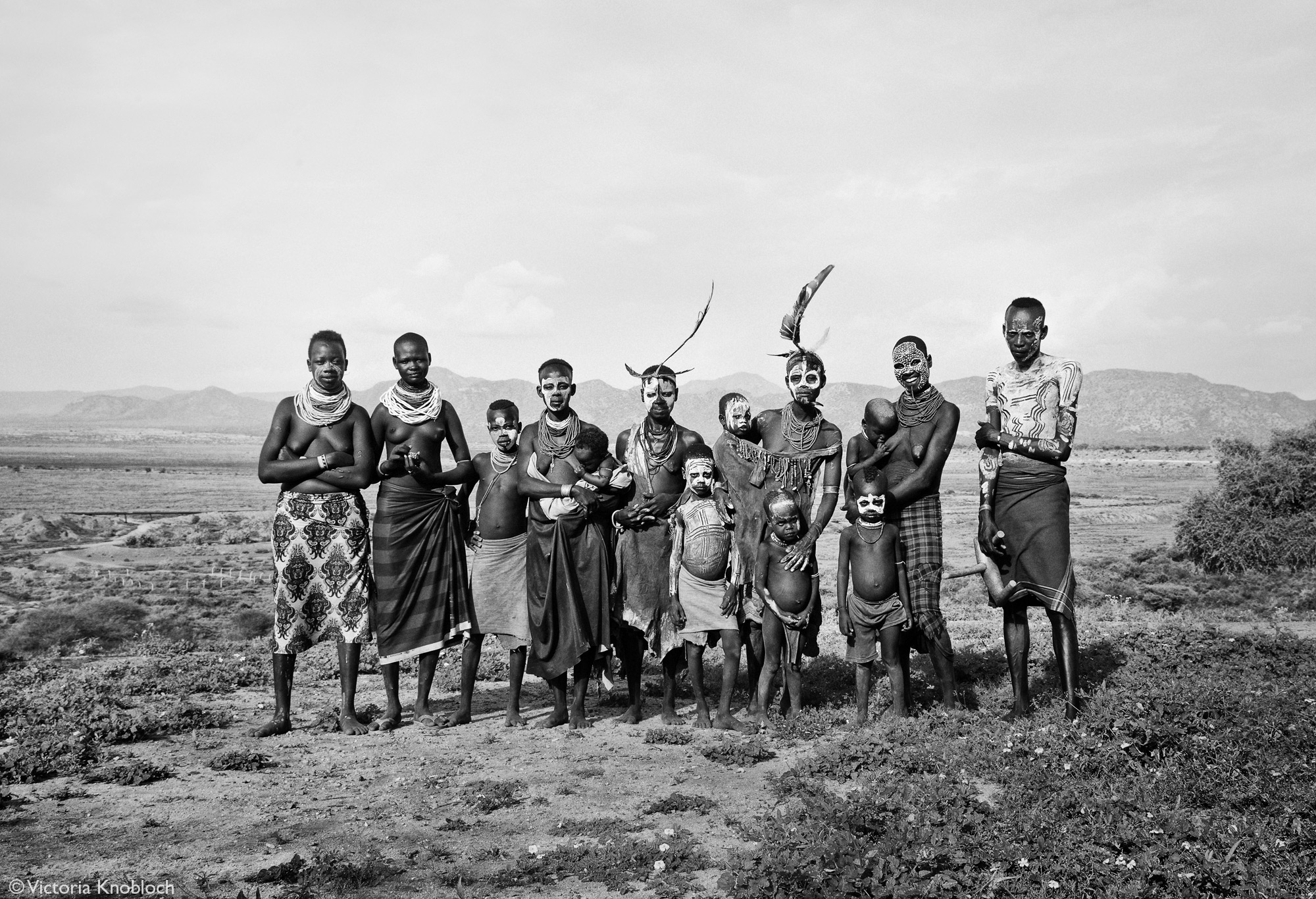 Karo tribe members posing, Omo Valley, Ethiopia